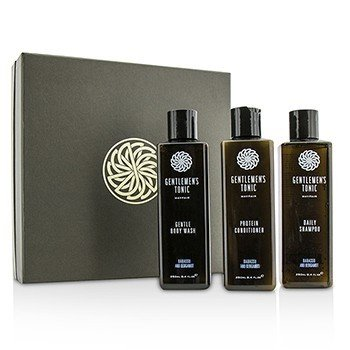 Gentlemens Tonic Shower Gift Set: Gentle Body Wash 250ml + Daily Shampoo 250ml + Protein Conditioner 250ml