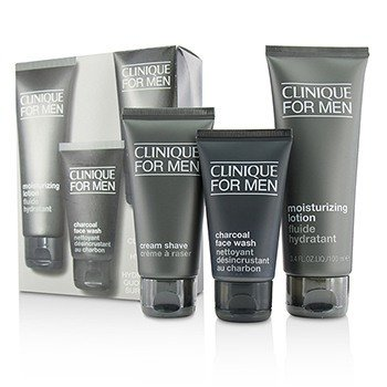 Clinique Custom-Fit Daily Hydration Set: Charcoal Face Wash 50ml + Cream Shave 60ml + Moisturizing Lotion 100ml