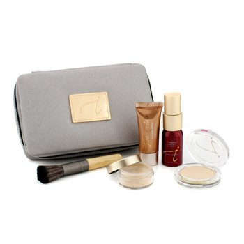 Jane Iredale Starter Kit (6 Keping): 1xPrimer & Brighter, 1xBedak Longgar Mineral, 1xMineral Alas Foundation, ... - # Light