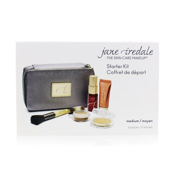 Jane Iredale Starter Kit (6 Keping): 1xPrimer & Brighter, 1xBedak Longgar Mineral, 1xMineral Alas Foundation, ... - # Medium