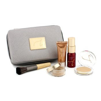 Jane Iredale Starter Kit (6 Keping): 1xPrimer & Brighter, 1xBedak Longgar Mineral, 1xMineral Alas Foundation, ... - # Medium Dark