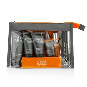 Clinique For Men Exclusive Travel Set: Moisturizing Lotion+Eye Gel+Post-Shave Soother+Face Scrub+Cream Shave+Cologne Spray
