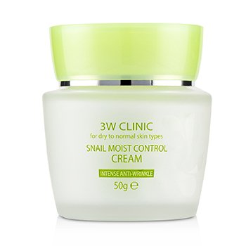 3W Clinic Snail Moist Control Cream (Intensive Anti-Wrinkle) - For Dry to Normal Skin Types