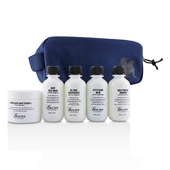 Baxter Of California Travel Starter Kit: Face Wash + Shave Formula + Moisturizer + Shave Balm + Shampoo + Bag