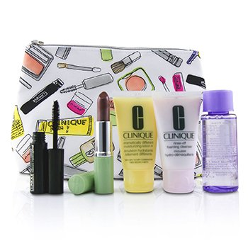 Clinique Bonus Travel Set: M/U Remover 50ml+ Foaming Cleanser 30ml+ DDML+ 30ml+ High Impact Mascara 3.5ml+ Long Last Lipstick 3.8g+ Bag