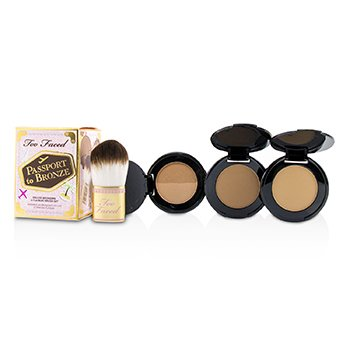 Too Faced Passport To Bronze Deluxe Bronzers & Flatbuki Brush Set