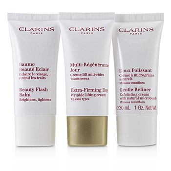 Clarins Extra-Firming 40+ Anti-Ageing Skincare Set:Gentle Refiner 30ml +Extra-Firming Day Cream 30ml+ Beauty Flash Balm 30ml