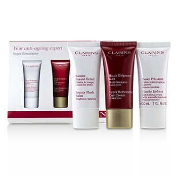 Clarins Super Restorative 50+ Anti-Ageing Skincare Set: Gentle Refiner 30ml+Super Restorative Day Cream 30ml+Beauty Flash Balm 30ml