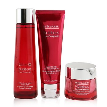 Estee Lauder Nutritious Super-Pomegranate Overnight Radiance Collection: Cleansing Foam 125ml+Lotion Intense Moist 200ml+Night Creme 50ml