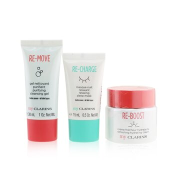 Clarins My Clarins The Essentials Set: Re-Boost Hydrating Cream 50ml+ Re-Move Cleansing Gel 30ml+ Re-Charge Sleep Mask 15ml